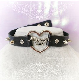 Bdsm Daddys Girl Choker Necklace Black Faux Leather Heart Spikes Collar