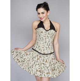 Newspaper Cotton Printed Neck Overbust Top & Skirt Helloween Corset Dress