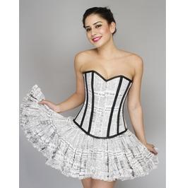 Corsets Nmore Newspaper Printed Cotton Overbust Top Tutu Skirt Corset Dress
