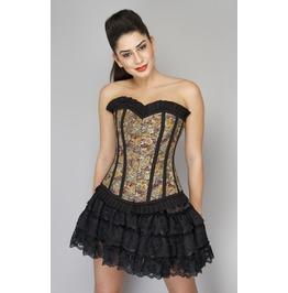 Corsets Nmore Cotton Lily Printed Overbust Top Net Tutu Skirt Corset Dress