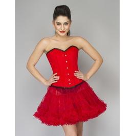 Red Velvet Waist Training Overbust Top &Red Tissue Tutu Skirt Corset Dress