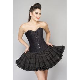 Black Velvet Overbust Waist Training Top & Tutu Skirt Women Corset Dress