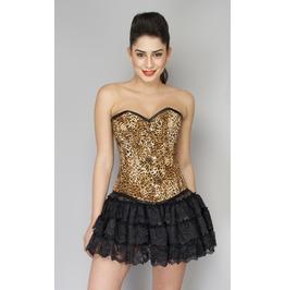 Leopard Print Waist Cincher Overbust & Net Tutu Skirt Women Corset Dress