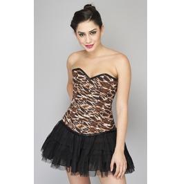 Sexy Tiger Printed Polyester Overbust Satin Net Tutu Skirt Corset Dress