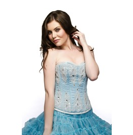 Baby Blue Satin White Sequins Overbust Top & Tissue Tutu Skirt Corset Dress