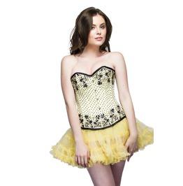 Yellow Satin Black Sequins Overbust Top & Tissue Tutu Skirt Corset Dress