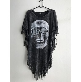 Skull 3 Eyes Fashion Punk Hippie Batwing Tussle Fringes Stone Wash Poncho