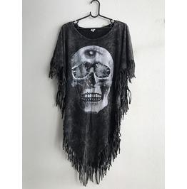 Skull 3 Eyes Fashion Punk Hippie Batwing Tussle Fringes Stone Wash Poncho
