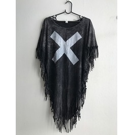 X Fashion Punk Hippie Batwing Tussle Fringes Stone Wash Poncho