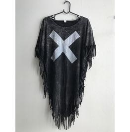 X Fashion Punk Hippie Batwing Tussle Fringes Stone Wash Poncho