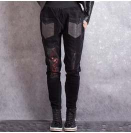 Womens Punk Casual Pant Leather Pockets