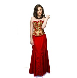 Red Velvet Embroidery Overbust Top & Long Skirt Women Corset Dress