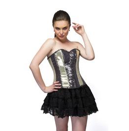 Golden Black Georgette Sequins Overbust Top & Tutu Skirt Corset Dress