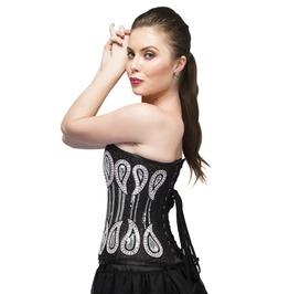Black Satin Silver Sequins Overbust Top Tutu Skirt Women Corset Dress