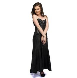 Black Sequins Front Zip Overbust Top Long Leather Skirt Women Corset Dress