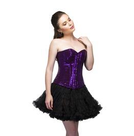 Purple Georgette Sequins Overbust Top Black Tutu Skirt Women Corset Dress