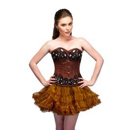 Brown Satin Sequins Top & Tutu Skirt Waist Cincher Overbust Corset Dress
