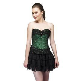 Green Satin Sequins Work Overbust Top & Net Tutu Skirt Women Corset Dress