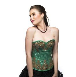 Green Satin Sequins Handmade Overbust Top & Tutu Skirt Women Corset Dress
