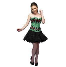 Green Satin Sequins Overbust Top & Black Tutu Skirt Women Corset Dress