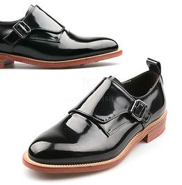 Glossy Black Single Monk Strap Shoes 137