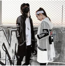 New Arrival Hip Hop Men's Spring Trench Coat Mesh Hooded Shirt
