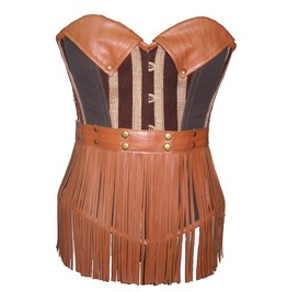 Brown Leather Cotton Steampunk Fashion Bustier Women's Overbust Corset Top