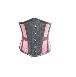 Black Brocade & Pink Net Gothic Steampunk Bustier Underbust Corset Costume