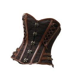 Brown Brocade Leather Straps Gothic Steampunk Bustier Overbust Corset Top