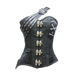 Black Brocade Leather Straps Steampunk Bustier Overbust Corset Fantasy Top