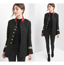Women Black Red Band Jacket Gothic Rock Women Woven Coat Jacket