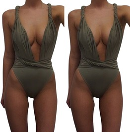 Women's High Waist Deep V Neck Swimsuit