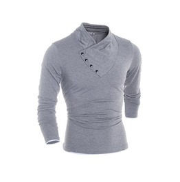 Diagonal Collar Long Sleeves Men T Shirt