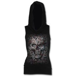 Skull Illusion Sleeveless Gothic Hood Black