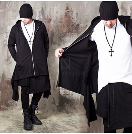 Double Tail Long Zip Up Hoodie 194