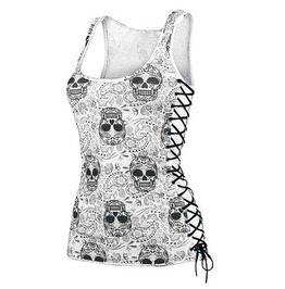 Skull Print Side Lace Up Womens Tank Top