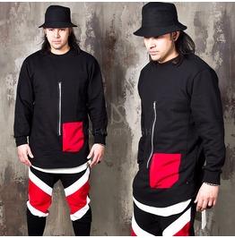 Zipper Red Pocket Black Shirts 233