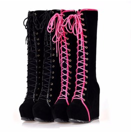 Lace Up Punk Knee Boots