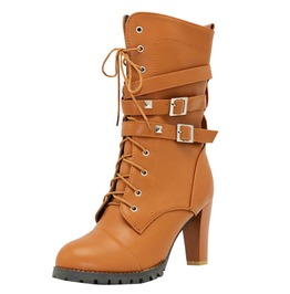 High Fashion Women's Buckled High Heel Boots