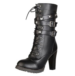 High Fashion Women's Buckled High Heel Boots