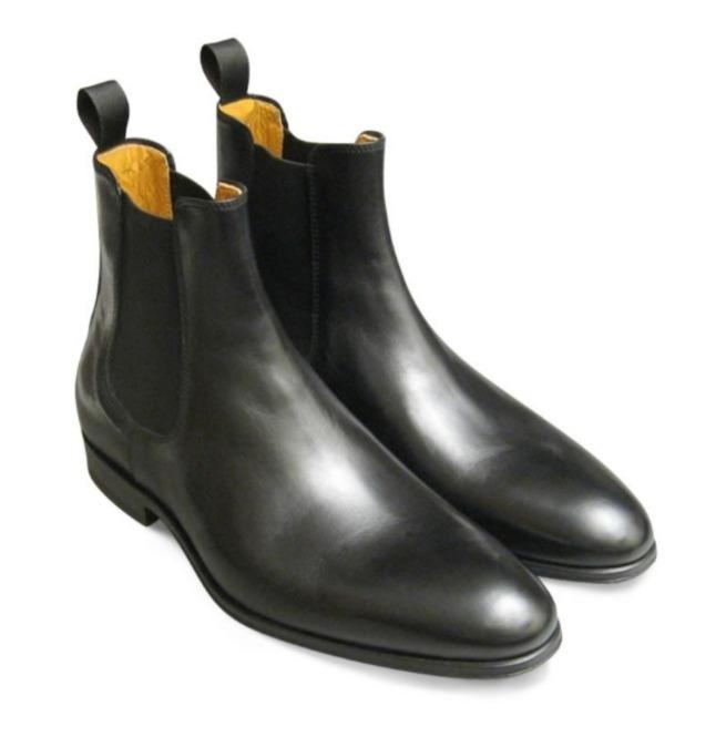 9c989bfc3ff Handmade Men Black Leather Chelsea Boots