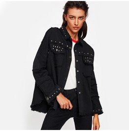 Rivet Black Denim Women Jacket
