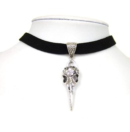 Black Faux Suede Cord Crow Raven Skull Bird Charm Choker Necklace