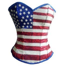 Blue Satin Sequins Usa Flag Gothic Burlesque Bustier Overbust Corset Costume