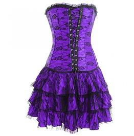 Purple Satin & Skirt Burlesque Bustier Waist Training Overbust Corset Dress
