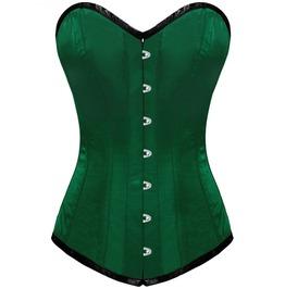 Green Satin Gothic Burlesque Bustier Waist Training Long Overbust Corset