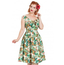Voodoo Vixen Dana Tropical Cherry Print Dress