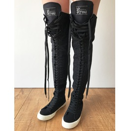 Rtbu Oreo 35 Hole Punk Goth Thigh Hi Canvas Laceup Zip Sneaker Boots Black