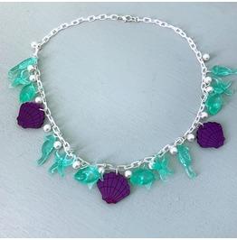 Retro Mermaid Necklace In Purple And Aqua