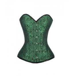 Green Brocade Busk Double Bone Gothic Burlesque Bustier Overbust Corset Top